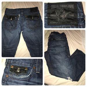 Badass, distressed True Religion jeans